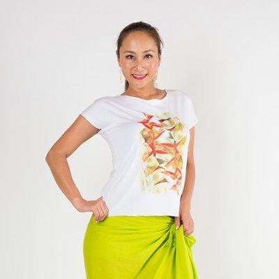 【Sabado】サバドデザイン ストレッチTシャツ(ヘリコニア) ホワイト