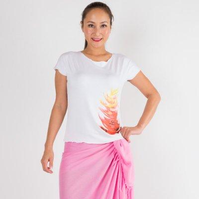 【Sabado】サバドデザイン ストレッチTシャツ(レッドジンジャー)ホワイト