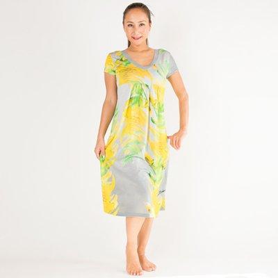 【Sabado】サバドデザイン Vネックドレス (イエロージンジャー)ライトグレー