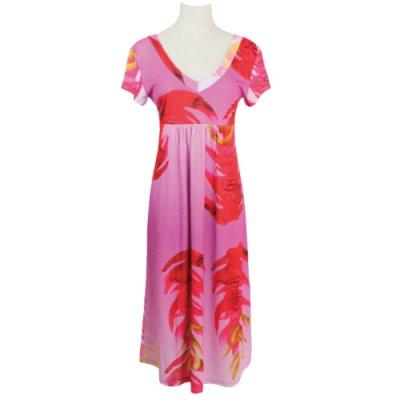 【Sabado】サバドデザイン Vネックドレス (レッドジンジャー)ピンク
