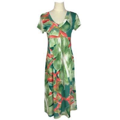 【Sabado】サバドデザイン Vネックドレス (ヘリコニア)ブルー