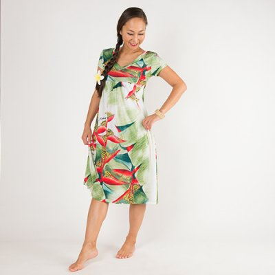 【Sabado】サバドデザイン Vネックドレス (ヘリコニア)ピンクベージュ