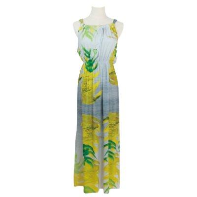 【Sabado】サバドデザイン バックリボンドレス (イエロージンジャー)ライトグレー