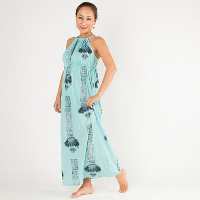 【Sabado】サバドデザイン バックリボンドレス (ラウハラ)ターコイズ