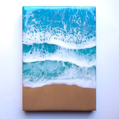 【Luana Ocean Art・ルアナオーシャンアート】  A5アートA#6・ラニカイグリーン