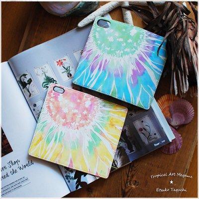 【Etsuko Taguchi】iPhoneケース・手帳型ベルトなし:sunflower ひまわり(ブルー)