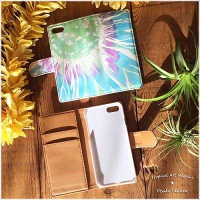 【Etsuko Taguchi】iPhoneケース・手帳型ベルトあり:sunflower ひまわり(ブルー)