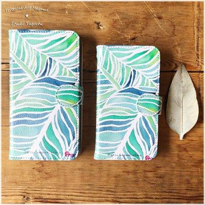 【Etsuko Taguchi】スマートフォンケース・粘着パッドタイプ(多機種対応汎用タイプ) 手帳型ベルトあり ミラー付き:Green Leaf グリーンリーフ