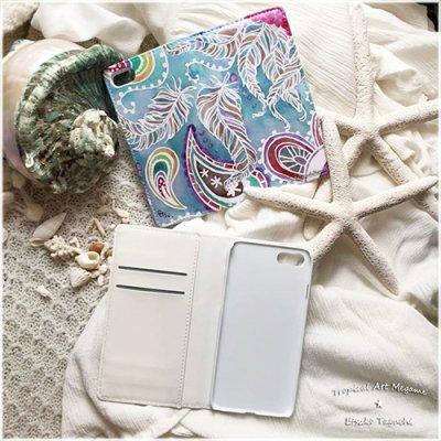 【Etsuko Taguchi】iPhoneケース・手帳型ベルトなし:Paisley ペイズリー