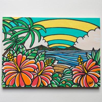 TAMO原画 オリジナルアート 297×420mm(Triple Hibiscus)