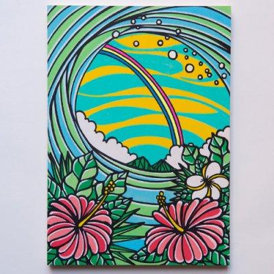 TAMO原画 オリジナルアート 297×420mm(Ranbow Hibiscus)