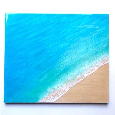 【Luana Ocean Art・ルアナオーシャンアート】  455mm x 530mm アート #21・ラニカイグリーン