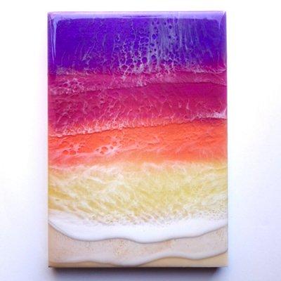 【Luana Ocean Art・ルアナオーシャンアート】  A5 アート #51・ハナレイサンセット