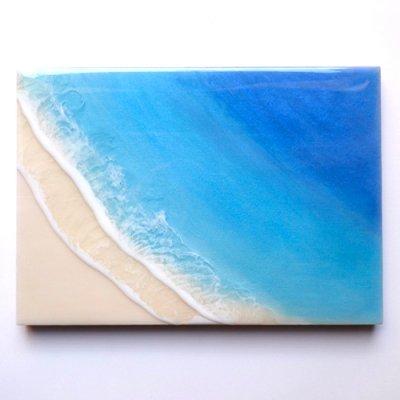 【Luana Ocean Art・ルアナオーシャンアート】  A4 アート #64・ホノルアブルー