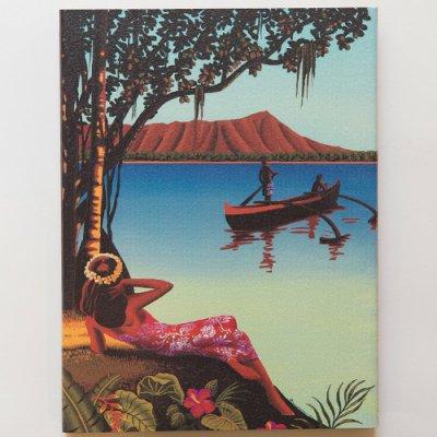 栗山義勝 [Yoshikatsu Kuriyama] Wood Art Print オールドハワイシリーズ ウーマン069