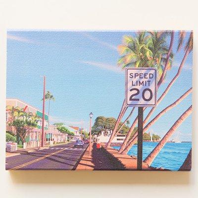 栗山義勝 [Yoshikatsu Kuriyama] Wood Art Print ハワイの風景シリーズ- ラハイナフロントストリート108
