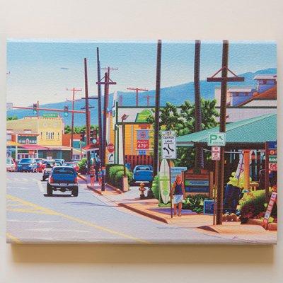 栗山義勝 [Yoshikatsu Kuriyama] Wood Art Print ハワイの風景シリーズ- パイアタウン107