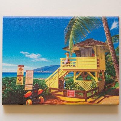 栗山義勝 [Yoshikatsu Kuriyama] Wood Art Print ハワイの風景シリーズ- ライフガード・タワー099