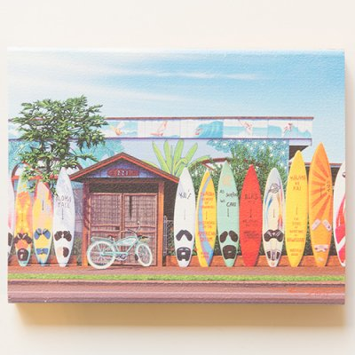 栗山義勝 [Yoshikatsu Kuriyama] Wood Art Print ハワイの風景シリーズ- パイアタウン088