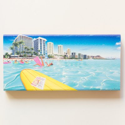 栗山義勝 [Yoshikatsu Kuriyama] Wood Art Print ハワイの風景シリーズ- ワイキキ028