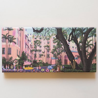 栗山義勝 [Yoshikatsu Kuriyama] Wood Art Print ハワイの風景シリーズ- ピンクパレス025
