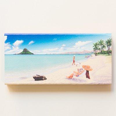 栗山義勝 [Yoshikatsu Kuriyama] Wood Art Print ハワイの風景シリーズ- クアロアビーチ018