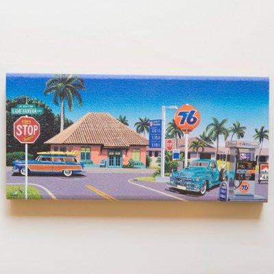 栗山義勝 [Yoshikatsu Kuriyama] Wood Art Print ハワイの風景シリーズ- ハレイワタウン014