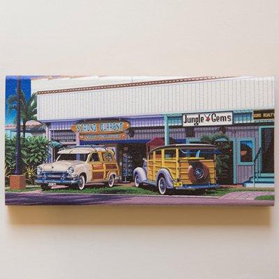 栗山義勝 [Yoshikatsu Kuriyama] Wood Art Print ハワイの風景シリーズ- ハレイワタウン013