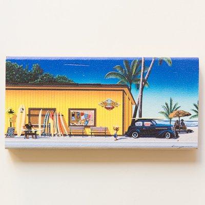栗山義勝 [Yoshikatsu Kuriyama] Wood Art Print ハワイの風景シリーズ- サーフ&シー003