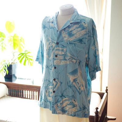 Vintage Aloha Shirt/  Bermuda Bay ライトグレー Mサイズ