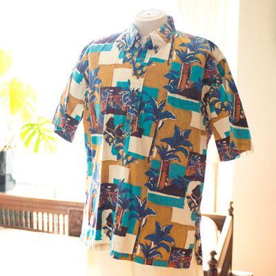 Vintage Aloha Shirt/  Hilo Hattie ライトブラウン×ブルー Mサイズ