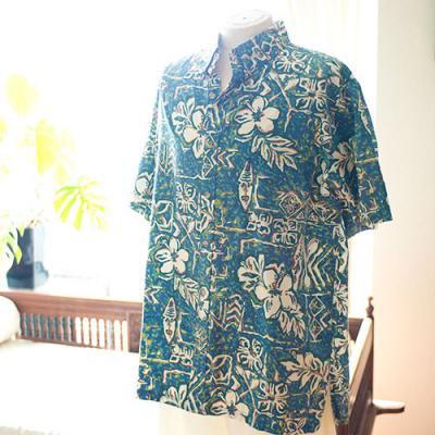 Vintage Aloha Shirt/  RIGGERS ブルーグリーン×白 Mサイズ