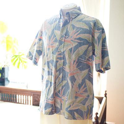 Vintage Aloha Shirt/ KAHALA ネイビー×オレンジ Mサイズ