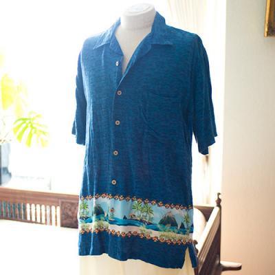 Vintage Aloha Shirt/ CHEROKEE ネイビー Mサイズ