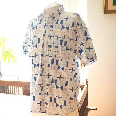 Vintage Aloha Shirt/ RALPH LAUREN 白×水色 Lサイズ