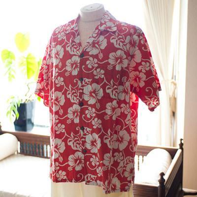 Vintage Aloha Shirt/ Go BaRefoot レッド×白 Lサイズ