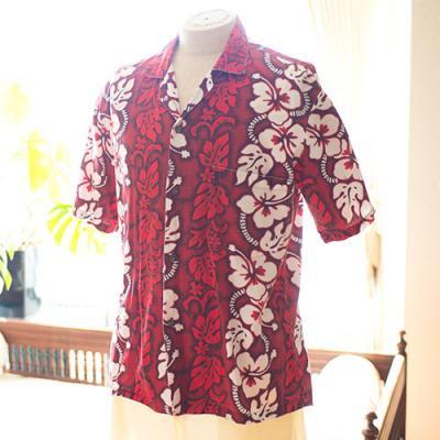 Vintage Aloha Shirt/ KY's INTERNATIONAL FASION レッド×白 Lサイズ
