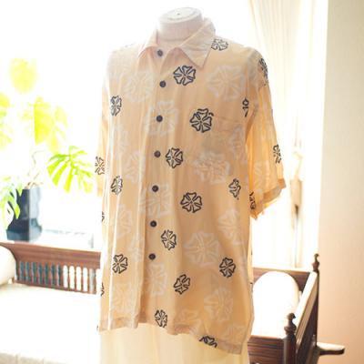 Vintage Aloha Shirt/ SurF Bum ライトイエロー Lサイズ