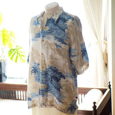 Vintage Aloha Shirt/ BUGLE BOY CLASSICS 白×ベージュ×Lブルー Lサイズ