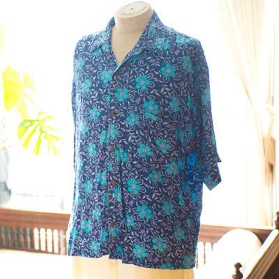 Vintage Aloha Shirt/ HIBISCUS COLLECTION ネイビー Lサイズ