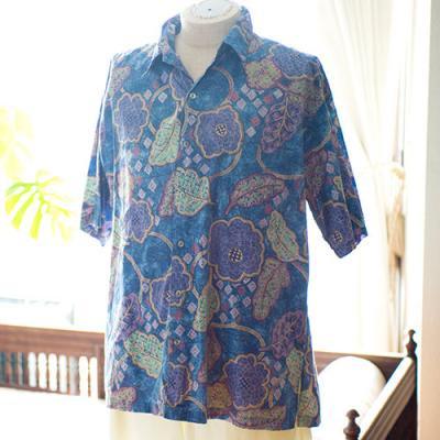 Vintage Aloha Shirt/ TORI RICARD ネイビー Lサイズ