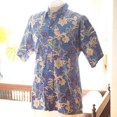 Vintage Aloha Shirt/ Go BaRefoot ネイビー Lサイズ
