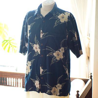 Vintage Aloha Shirt/ BOCA CLASSICS ネイビー Lサイズ
