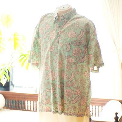 Vintage Aloha Shirt/ TORI RICARD ライトグリーン LLサイズ