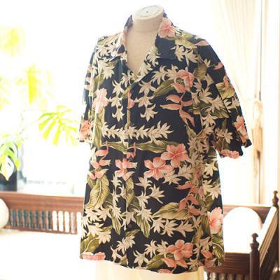 Vintage Aloha Shirt/ Bishop St apperel ブラック LLサイズ