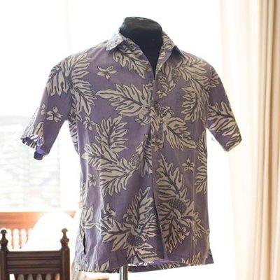 Vintage Aloha Shirt/ Island Traditions OF HAWAII  ラベンダーxホワイト Sサイズ