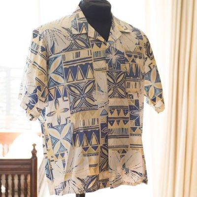 Vintage Aloha Shirt/  CINRAS ライトイエローxネイビー Mサイズ