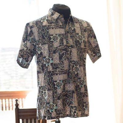 Vintage Aloha Shirt/ Cooke Street チャコールグレーxアクアタイダイ  Mサイズ
