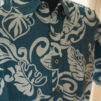 Vintage Aloha Shirt/ HONOLUA ブルーグリーンxパステルオリーブ Mサイズ