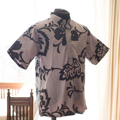 Vintage Aloha Shirt/ KAHAKA HAWAII ISLANDSグレージュXブラック Mサイズ